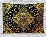 Gold Mandala Tapestry by Ambesonne, Bohemian Paisley Ornament Folk Henna Tattoo Style Indian Tribal Vintage, Wall Hanging for Bedroom Living Room Dorm, 80 W X 60 L Inches, Gold and Black