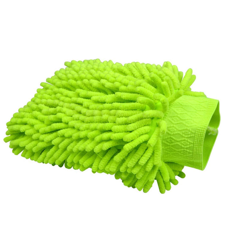 Verigle 1 Pack Chenille Microfiber Premium Scratch-Free Car Wash Mitt, Lime Green