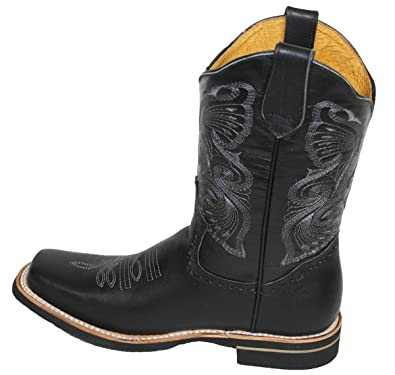 074e9feb65b5 Men cowboy boots Genuine Cowhide Leather PLAIN square toe rodeo western  Boots Black black 9