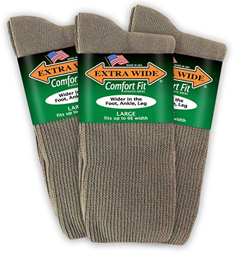 Extra Wide Comfort Fit Athletic Crew (Mid-Calf) Socks for Men - Tan - Size 12-16 (up to 6E wide) - 3PK (Tan Socks Dress)