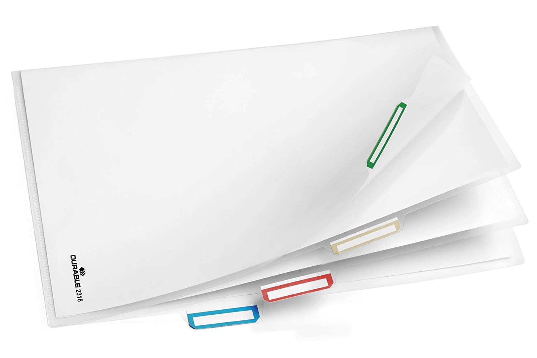 DURABLE 231619 confezione da 5 pezzi formato A4 trasparente Busta apertura ad L con divisori 5 sezioni