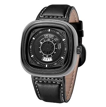 QYXANG Esfera Ovalada para Hombre Relojes Deportivos Reloj de Pulsera de Cuarzo Hombres Reloj Militar Banda