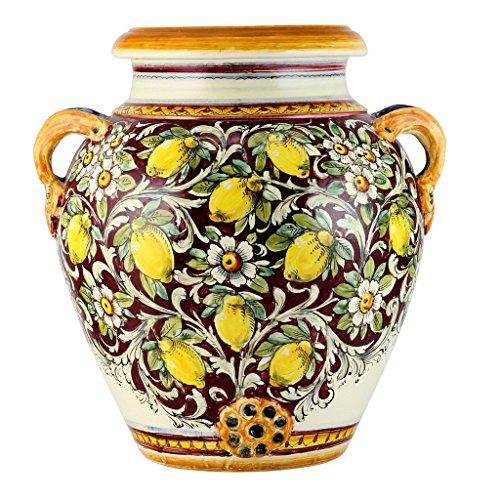 MAJOLICA TOSCANA: Orcio Urn ~ Limoni Fondo Bordeaux Design (Urns Italian Pottery Deruta)
