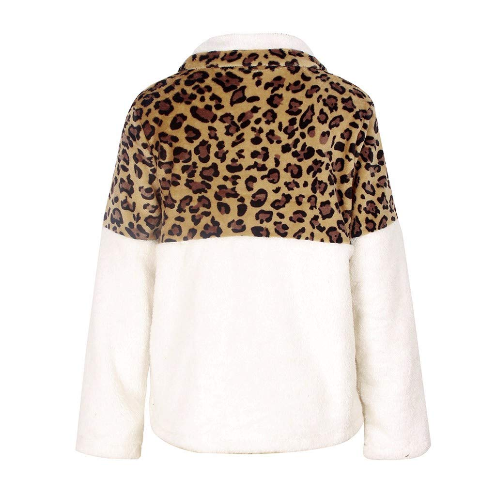 YLCOYO 2019 New Womans Fashion Casual Autumn Winter Leopard Faux Long Sleeves Sweater Top Blouse