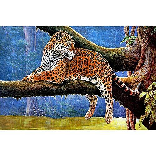 - Diy 5D Diamond Sticker Cross Stitch Painting Kits Arts Crafts - Wild Animal Leopard(Frameless)
