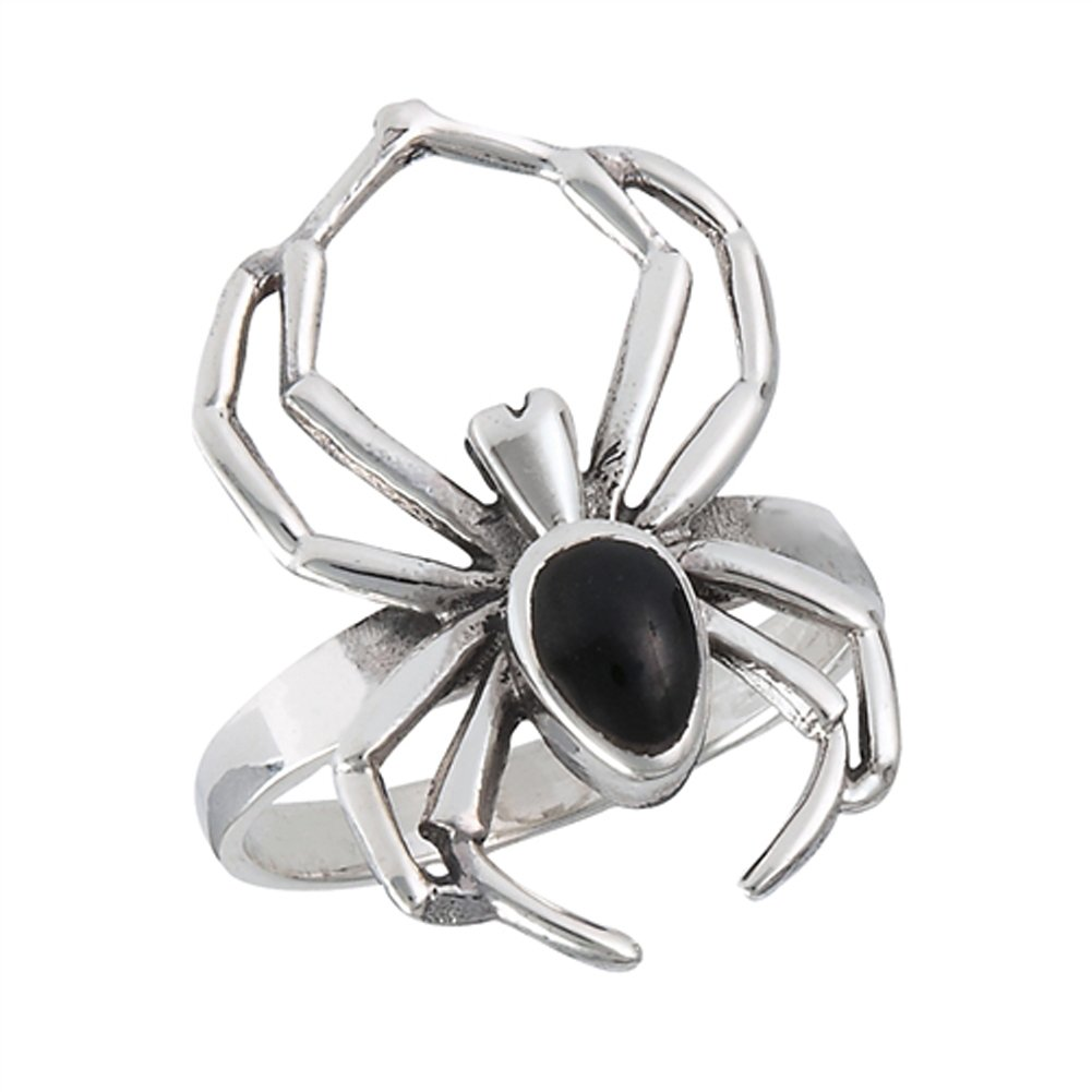 Simulated Black Onyx Wide Scary Spider Ring New .925 Sterling Silver Band Size 7