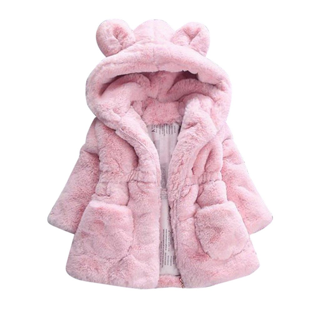 HUHU833 Girls Coats, Baby Infant Girls Autumn Winter Thick Hooded Coat (Pink, 4 Years)