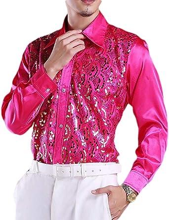 Gocgt - Camiseta de Manga Larga para Baile de Discoteca, con Lentejuelas, para Hombre Rojo Rosa Roja M: Amazon.es: Ropa y accesorios