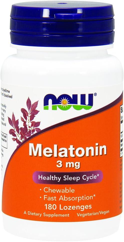 NOW Supplements, Melatonin 3 mg, 180 Chewable Lozenges