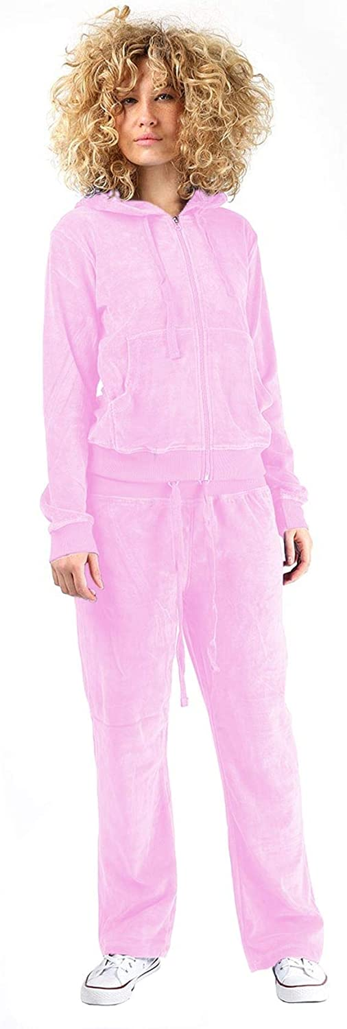 Janisramone Womens Velvet Velour Hooded Lounge Wear Top Bottom 2 Pcs Suit Jogging Tracksuit