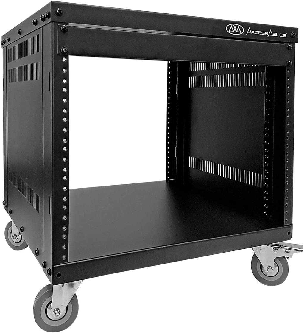 AxcessAbles RK 8U Equipment Rolling Cabinet Rack Stand with Locking Caster Wheels (Compatible with American 5mm & European 6mm Racks) Audio Video, Recording Studio, Music, Live Sound, Church Storage