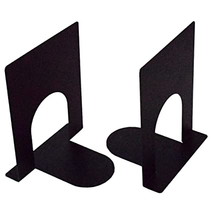 A10SHOP Ares 1 Heavy Gauge Metal Bookends, Non Skid Base- Set of 2 (Black)