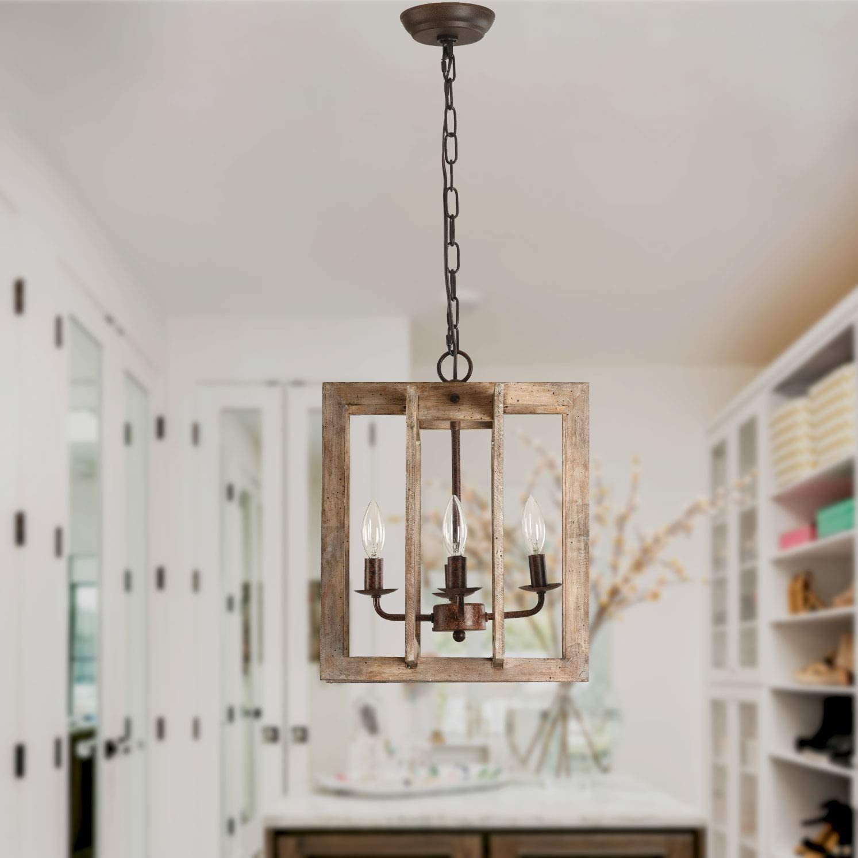 Oaks Decor 4-Light Farmhouse Wood Chandelier Modern Wooden Pendant Chandelier