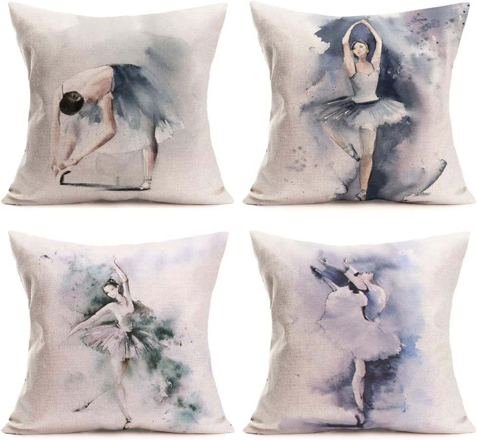 Xihomeli Set of 4 Throw Pillow Covers Ink Painting Classical Ballet Elegant Ballerina Dancing Girl Wearing Beautiful Dress Decorative Cotton Linen 18 x 18 Inch Pillowcase for Home (4 Pack Ballet Girl)