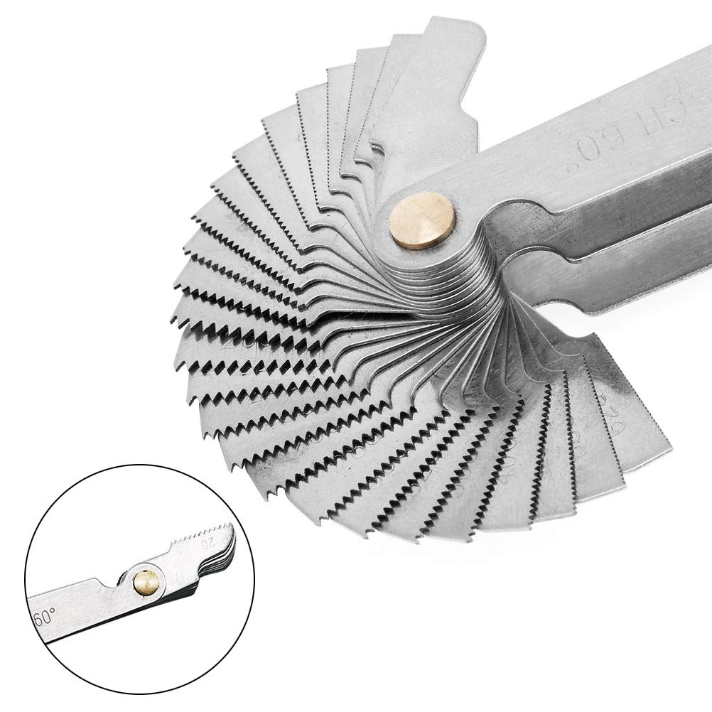 1 Metric Imperial US for Industrial Measurement 6Pcs Pitch Cutting Gauge 1 Metric /& America SAE Type 3 Pieces Center Gage 1 America SAE Type Stainless Steel Screw Thread Pitch Gauge Tool Set