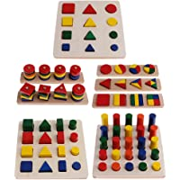 Montessori Material Geometry Blocks Matching Counting Set for Kids Educational Toys Gift