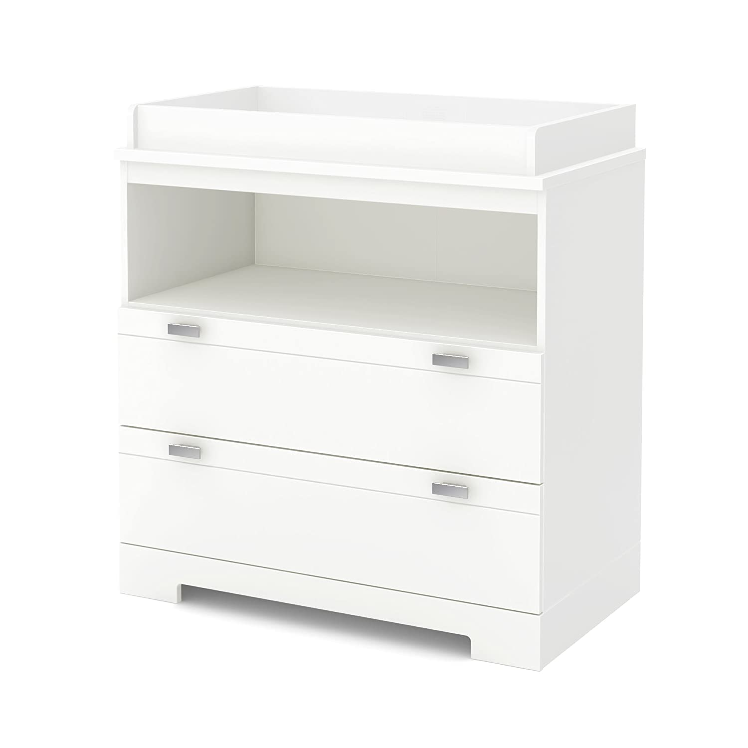 South Shore Reevo Changing Table and Dresser with Drawers, Pure White 3840330