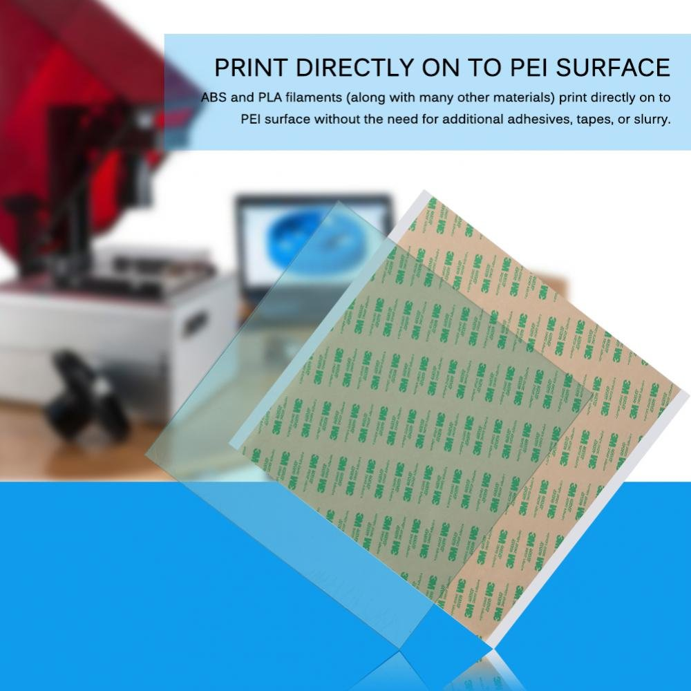 300 * 300 * 1 Vbestlife 300 x300 x 1mm PEI Sheet ABS PLA Build Surface for 3D Printer with Adhesive Tape