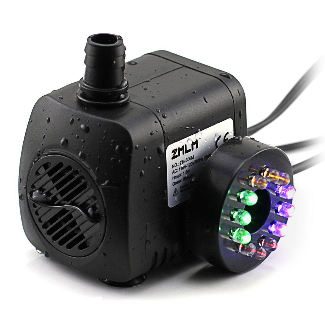 ZMLM Submersible Water Pump (15W 800L/H) with Colorful LED Light for Indoor Fountain, Pool, Garden, Pond, Fish Tank, Aquarium, Hydroponic, Statuary by ZMLM