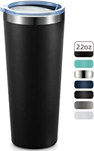 MEWAY 22oz Tumbler Stainless Steel Travel Coffee Mug with Lids Double Wall Insulated Coffee Cup for Home, Office, Travel Great (Black, 1 pack)
