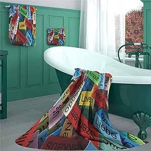 Amazon.com: Love Bath Towel Set, Valentines Word Cloud ...