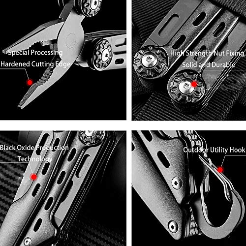 SURNORME Multi Knife 10 in 1 Stainless Steel Foldable Pocket Multitool Pliers Multi tool With Sheath for Outdoor Survival Hiking Camping Hunting by SURNORME (Image #2)