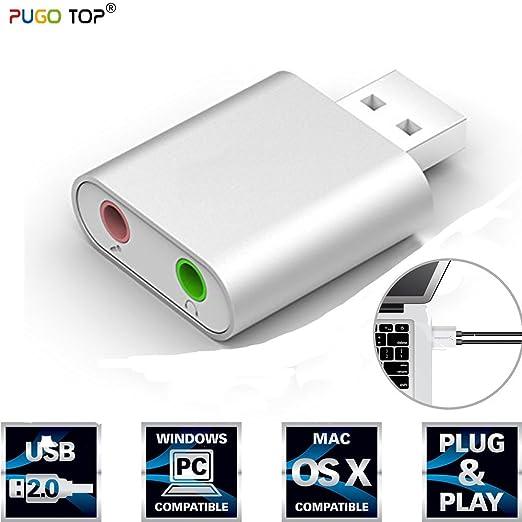 8 opinioni per PUGO TOP Alluminio Scheda Audio Esterna, Adattatore Audio Stereo USB per Windows