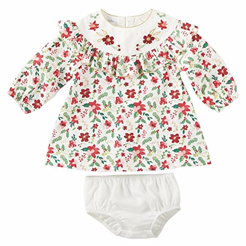 Mud Pie Baby Girl's Merry Floral Ruffle Dress (Infant) Red 3-6 Months