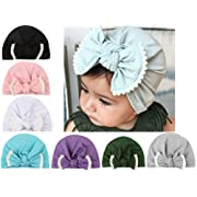 CaJaCa 7 Pack Newborn Baby Toddler Cotton Hat Baby Girl Knotted Hat Cute Donut Soft Turban Bow Cap Set (ML102)