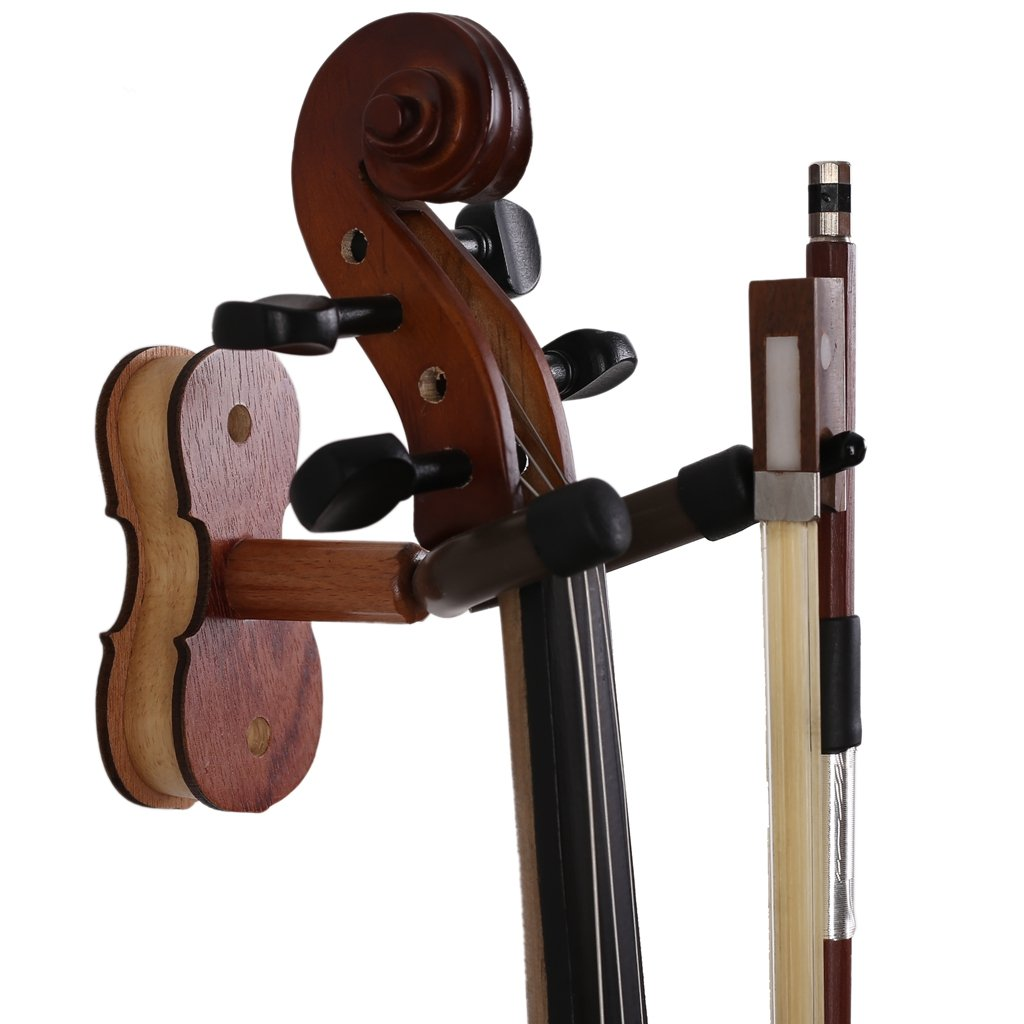 Muse Musical Wood Violin Hanger Hardwood Home & Studio Wall Mount Violin Hanger - Rosewood color