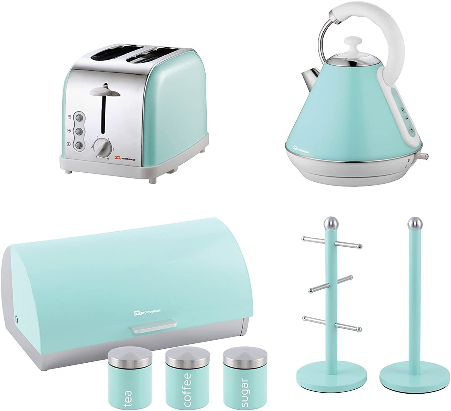Matching Kitchen Set of Four items: Toaster, Kettle, Bread bin and  canisters and Mug Tree and Kitchen Roll Holder Stand Set in Light Blue,  Pink or