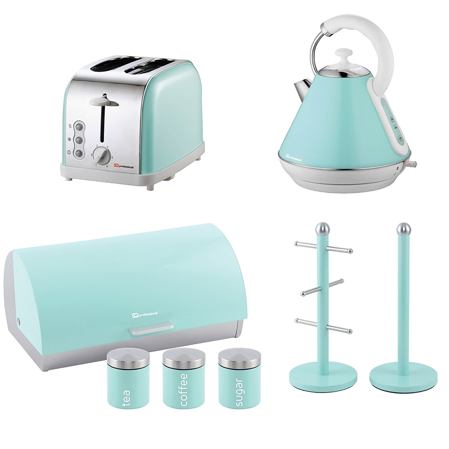 Matching Kitchen Set of Four items: Toaster, Kettle, Bread bin and ...