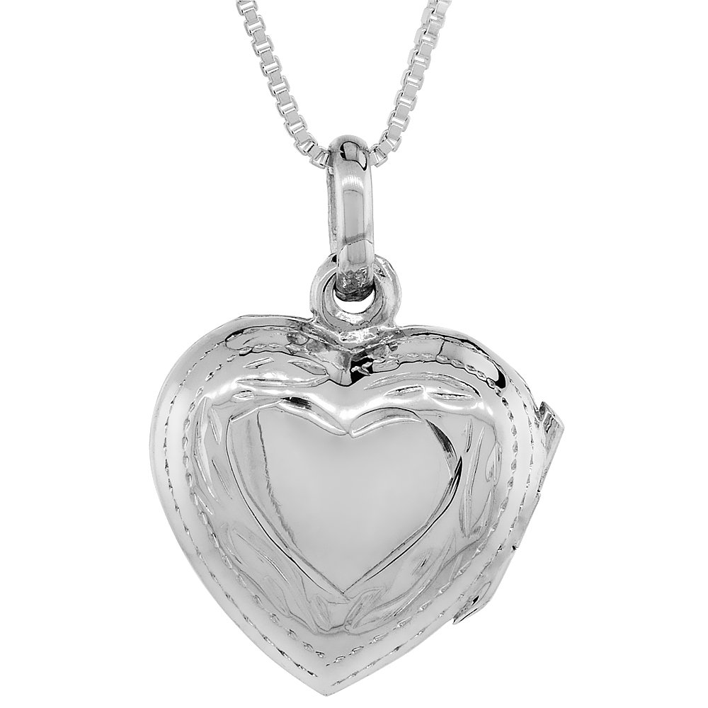 Small Sterling Silver Hand Engraved Heart Locket, 5/8 in. (16mm) Wide and 5/8 in. (16mm) Tall