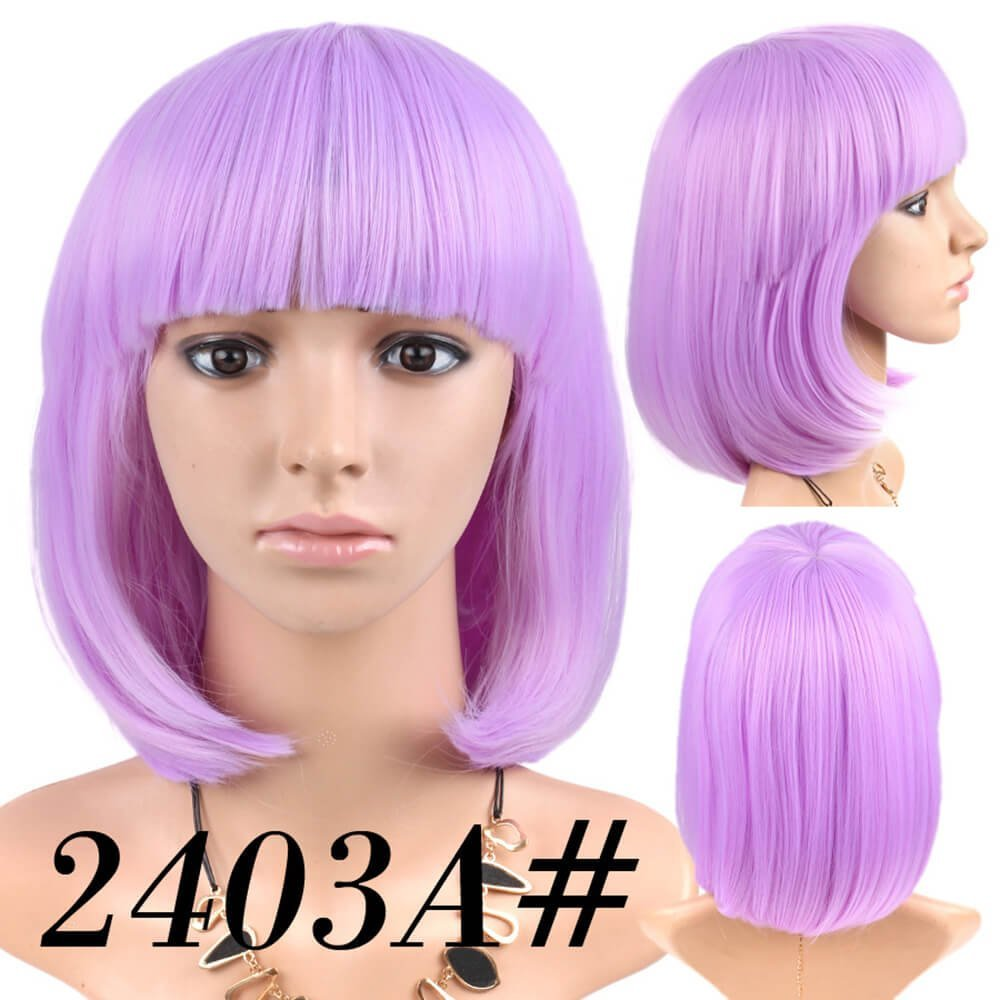 Amazon.com : Cheap Short Bob Wig Light Purple Color #2403A With Bangs for Women Full Head Colorful Cosplay Daily Party Anime Best Synthetic Wigs Straight ...