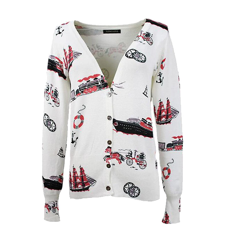 Women's petite ship printing V-neck short cardigan sweater