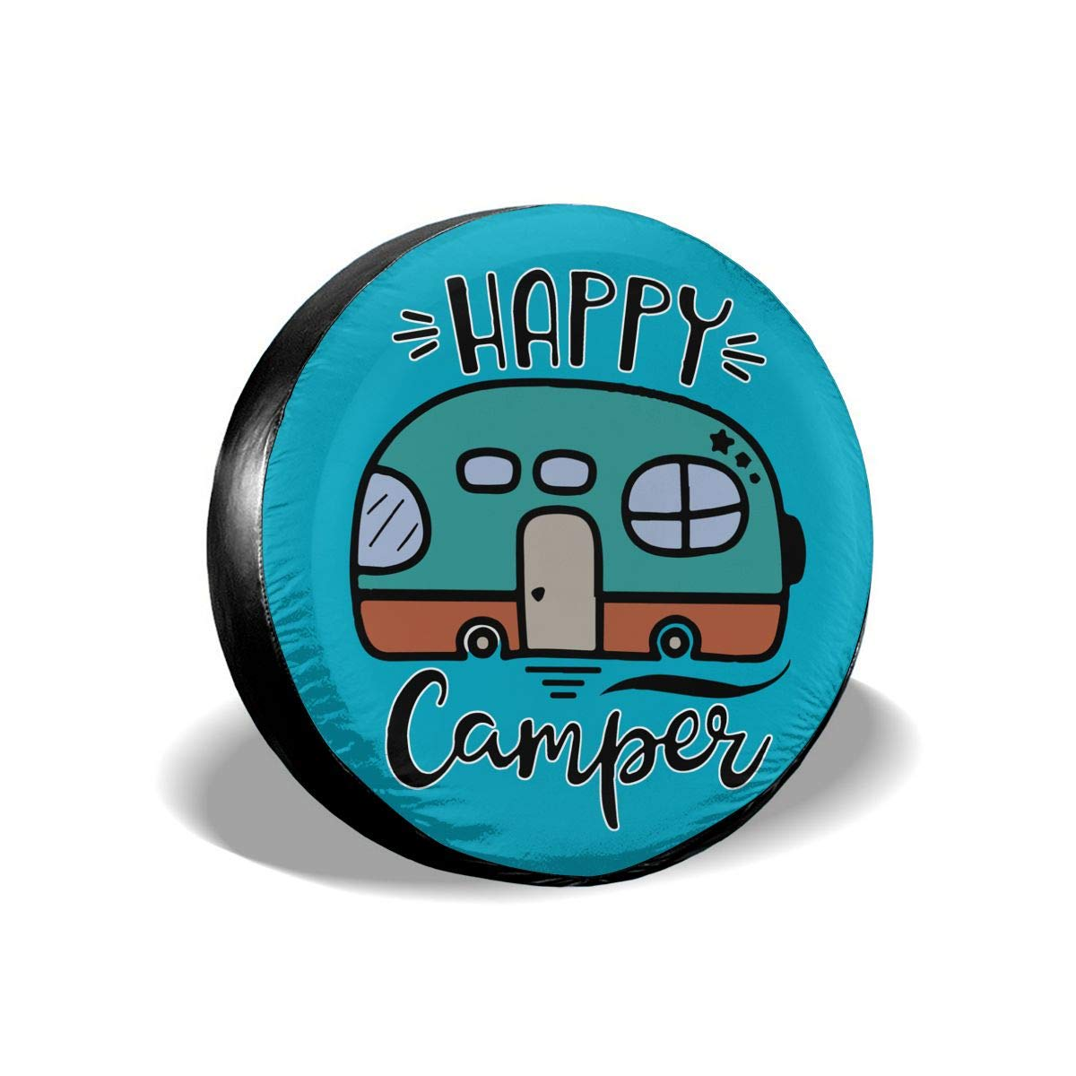 SUV and Many Vehicle 14 15 16 17 RV PINE-TREE-US Happy Camper Funny Spare Wheel Tire Cover Waterproof Dust-Proof Fit for Trailer