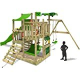 FATMOOSE Climbing frame BananaBeach Big XXL Treehouse with swing, apple geen slide and lots of accessories