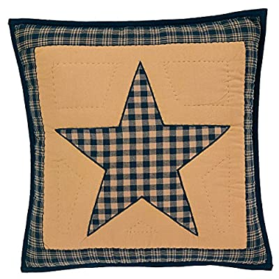 "Teton Star Primitive Country Patchwork Quilted Pillow Cover 16"" x 16"""