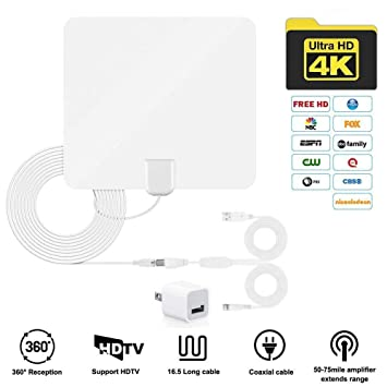 JFONG TV Antenna, Indoor Digital Amplified HDTV Antennas 50-80 Miles Range with Detachable