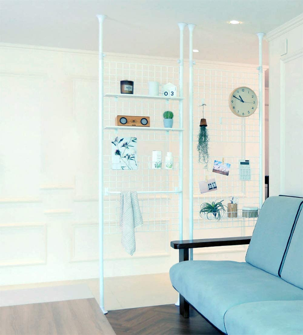 Casamaru Magic Partition Medium Steel 4-in-1 Home Furniture Offering Storage Organizer Room Divider Photo Display, Height Adjustable White,Medium