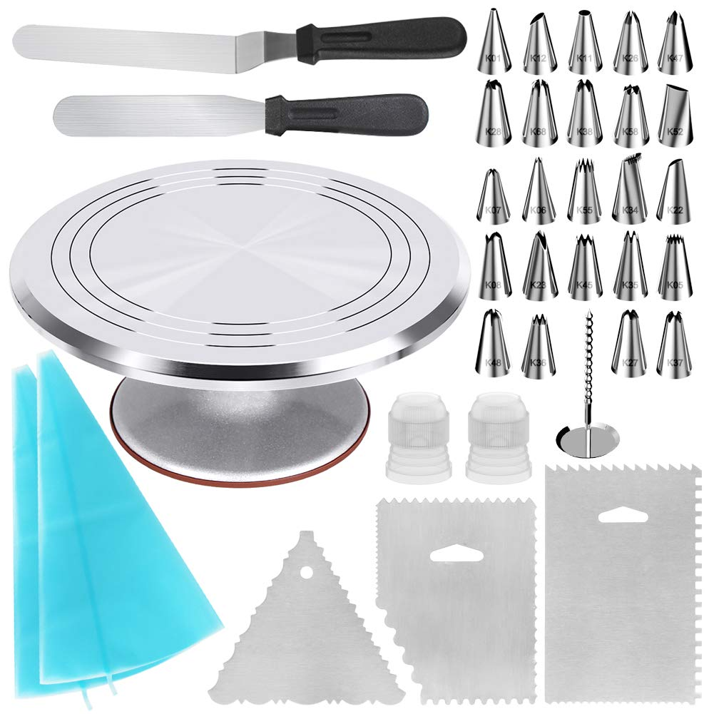 Kootek 35-in-1 Cake Decorating Supplies with Aluminium Alloy Revolving Cake Turntable, 24 Piping Tips, 2 Frosting Spatula, 3 Icing Comb, 2 Reusable Pastry Bags, 2 Couplers and 1 Flower Nail by Kootek