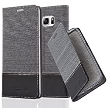 Cadorabo - Book Style Wallet for Samsung Galaxy NOTE 5 with Stand Function, Card Slot and invisible Magnetic Closure in Fabric-Fauxleather Design - Etui Case Cover Protection in GREY-BLACK