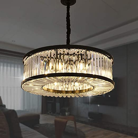 Meelighting Crystal Chandeliers Modern Contemporary Ceiling Lights Fixtures  Pendant Lighting for Dining Room Living Room Chandelier W28\