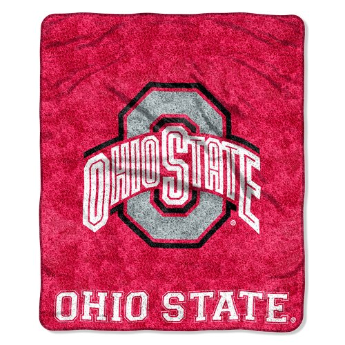 NCAA Ohio State Buckeyes 50-Inch-by-60-Inch Sherpa on Sherpa Throw Blanket