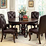 Bellagio English Style Brown Cherry Finish 5-Piece Formal Round Dining Table Set