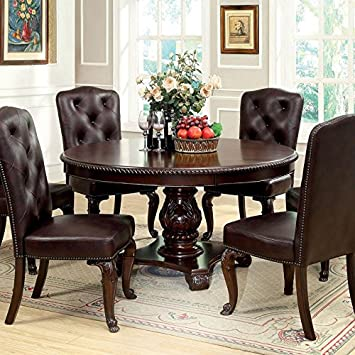 Bellagio English Style Brown Cherry Finish 7 Piece Formal Round Dining Table Set