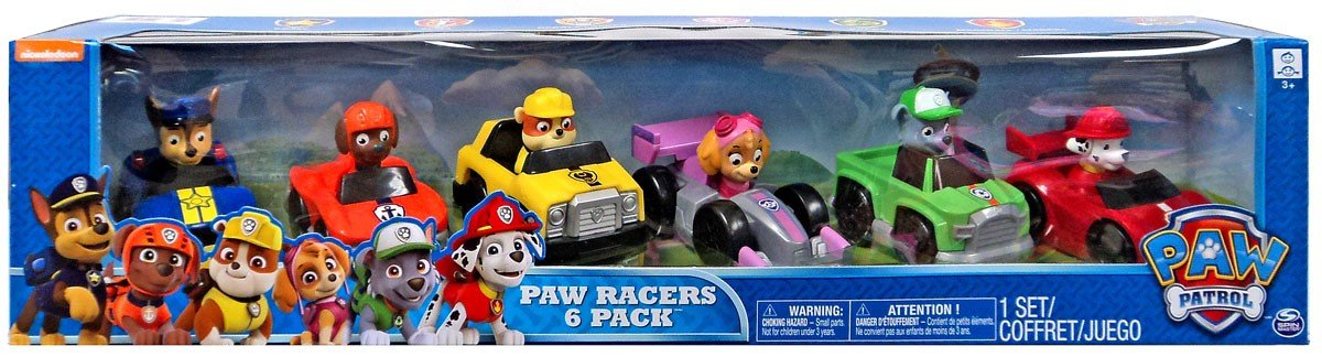 Paw Patrol Racers 6-pack, Set Includes Chase, Zuma, Rubble, Skye, Rocky and Marshall Racers Spin Master
