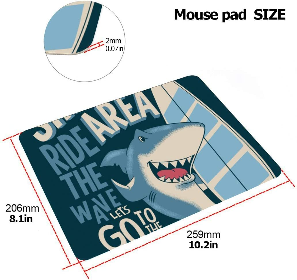 Laptop Case 13 Inch Surfer Shark with Surfboard Plastic Hard Shell Compatible Mac MacBook 13 Cover Protection Accessories for MacBook with Mouse Pad