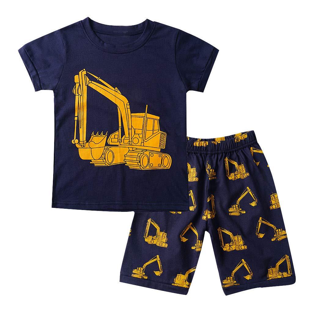 Little Boy Pajamas Set,Jchen Kids Boys Cartoon Excavator Print Tops +Cartoon Shorts Homewear Casual Outfits for 1-7 Yrs (Age:4-5 Years, Yellow)