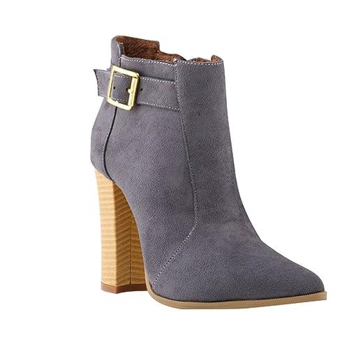 WanYang Mujer Botines Tacones Altos Moda Zapatos Ankle Botines Otoño Invierno Botas: Amazon.es: Zapatos y complementos